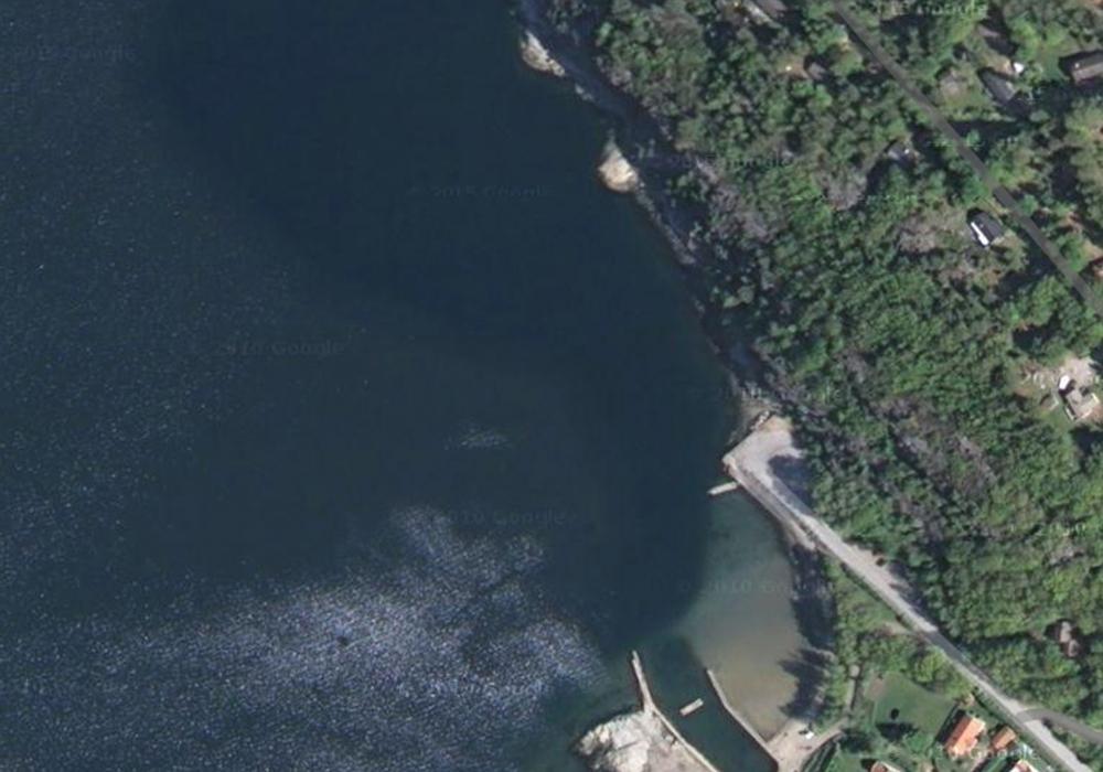Satellitbild över dykplatsen Hällebäck