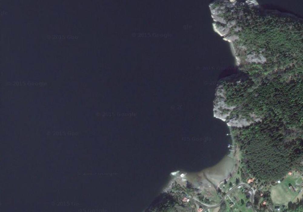 Satellitbild över dykplatsen Dännäs Huvud