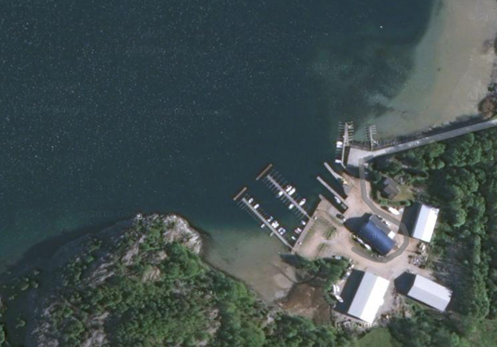 Satellitbild över dykplatsen Jordfall