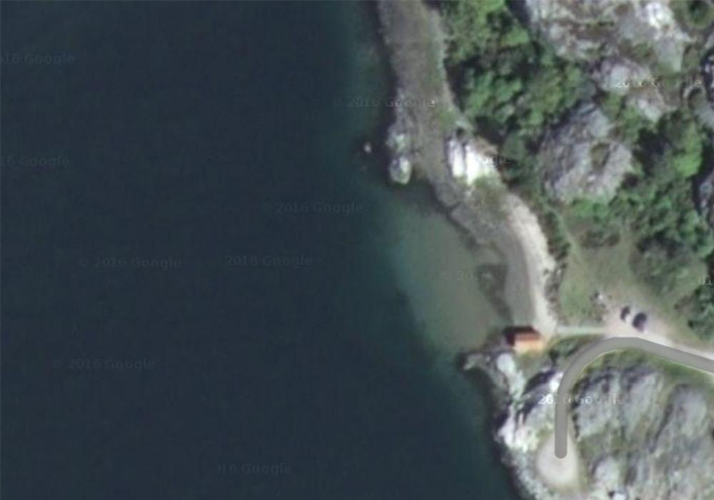 Satellitbild av dykplatsen skår
